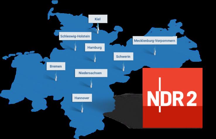 Karte des Sendegebietes des NDR 2