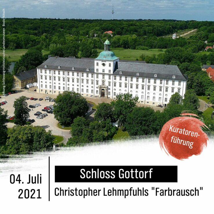 """Vogelansicht des Schloss Gottorf. Schrift: Schloss Gottorf, Christopher Lehmpfuhls """"Farbrausch"""" am 04. Juli 2021, Kuratorenführung."""